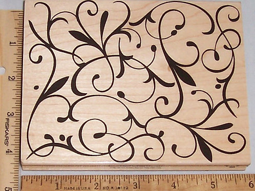 Wood Mounted Rubber Stamp Hero Arts Design Block Flourish S5034 DesignBlock