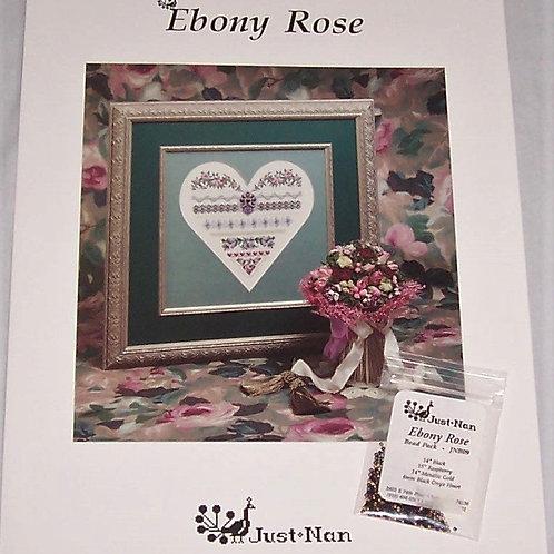 Cross Stitch Pattern Just Nan Ebony Rose + Bead Pack Embellishishments