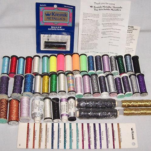 Lot 48  Kreinik Metallic Threads Balger Blending Filament + Ribbon +Braided Cord