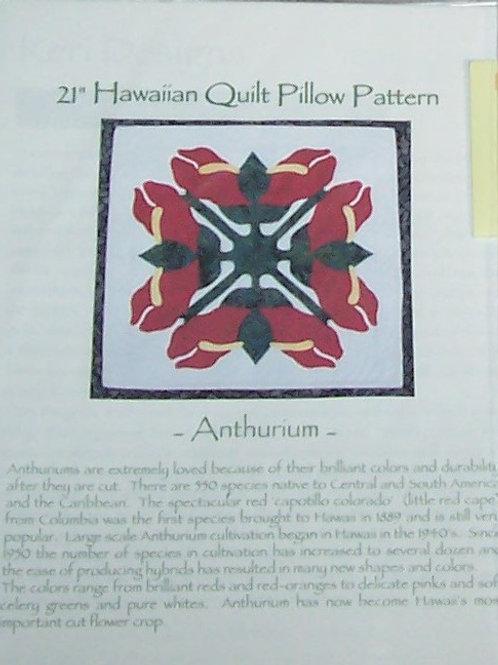 """Anthurium 21"""" Hawaiian Quilt Pillow Pattern Keri Designs"""