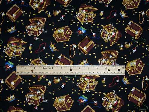 Timeless Treasures Pirate Chests Jewels KIDZ-C9887 Fabric 3/4 Yard Remnant