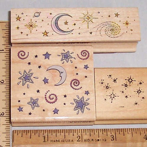 Wood Mounted Rubber Stamp Celestial Border & Night, Moon & Stars Delta Stampede