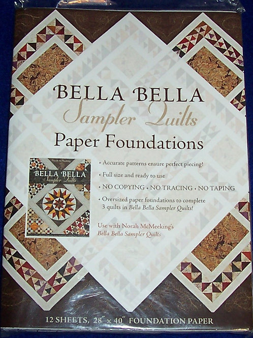 "Bella Bella Sampler Quilts Paper Foundations 12 Sheets 28""X40"" Foundation Paper"