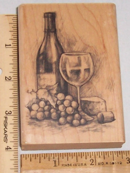 Wood Mounted Rubber Stamp Inkadinkado Wine, Grapes, Cheese Glass