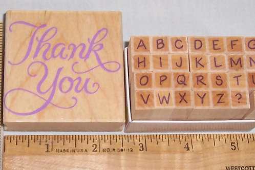 Wood Mounted Rubber Stamp Hero Arts Thank You and the Alphabet