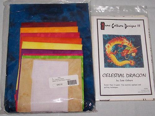 "Celestial Dragon June Colburn Pattern and Fabric Kit 35""X35"""
