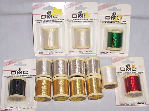 14 DMC Metallic Embroidery Threads 40m-60m Gold, Silver, Red, Black, Green White