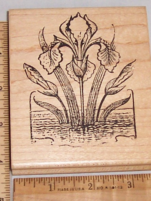 Wood Mounted Rubber Stamp Appalachian Art Stamps Flower Floral Iris