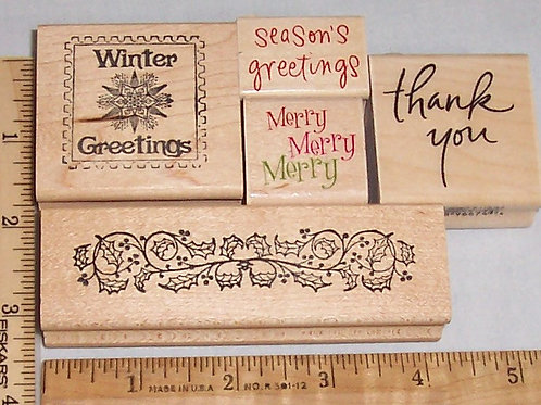 Wood Mounted Rubber Stamp Winter Greetings Season's Merry Thank You Holly Border