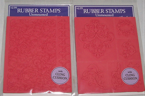 2 Pkgs Stampabilities Rubber Stamps Unmounted Border Decorative