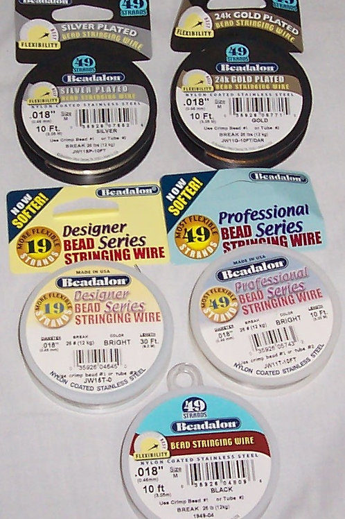 5 Beadalon Bead Stringing Wire Nylon Coated Stainless Steel Silver 24k Gold Brig