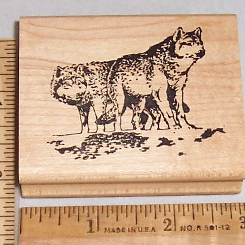 Wood Mounted Rubber Stamp Appalachian Art Stamps Wolf / Wolves