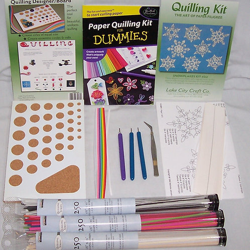 "Paper Quilling Kits Plus 750 Quilling Strips 1/8"" X 12"""