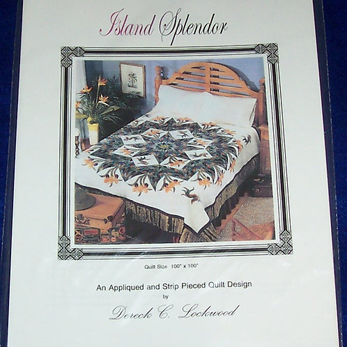 "Island Splendor Dereck Lockwood Pattern 100""X100"" Applique and Striped Pieced"