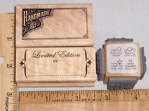 Wood Mounted Rubber Stamp Handmade By, Limited Edition, Hand Crafted For You...