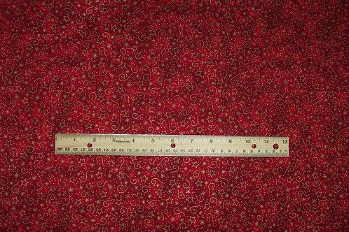 Clothworks Diane Knott Santa's Got the Goods Fabric Red with Metallic Gold