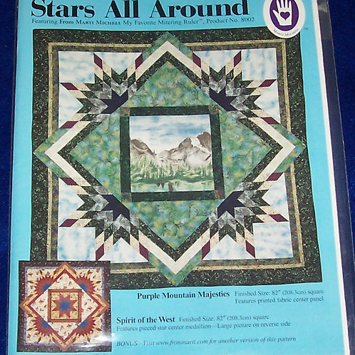 """Stars All Around Marti Michell Pattern 82""""Sq Featuring FromMy Fav Mitering Ruler"""