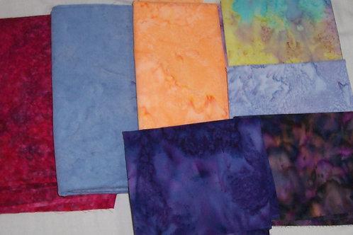 Batik Remnants 7 Pieces Approx 2-7/8 Yard Total
