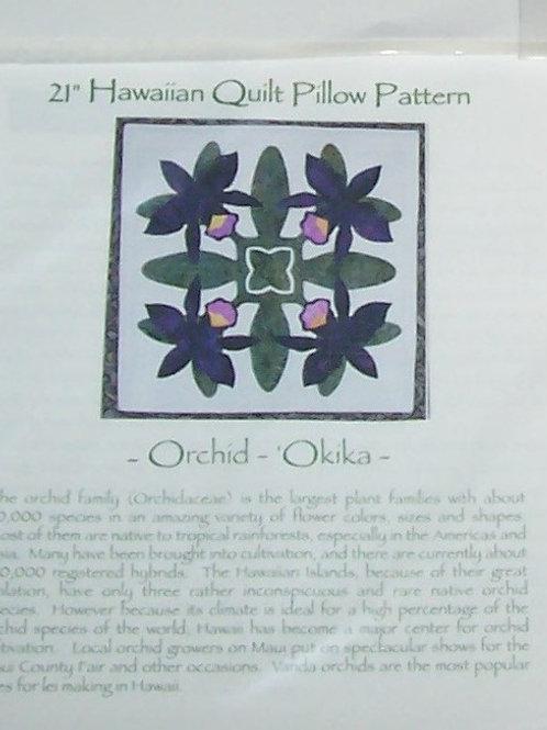 "Orchid 21"" Hawaiian Quilt Pillow Pattern Keri Designs"