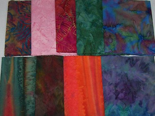 9 (1/3 Yard) Batiks Bundle Fabric
