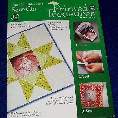 Dritz Printed Treasures Sew-On Inkjet Printable Fabric 12 Count