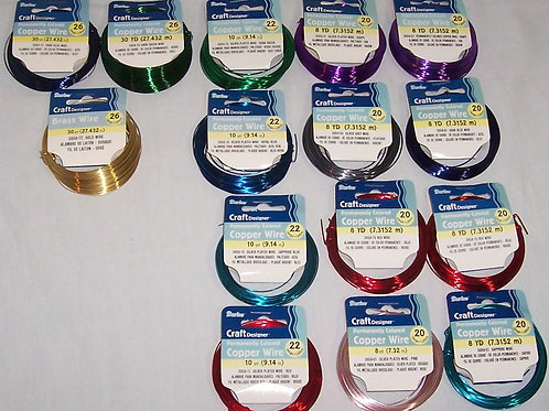 15 Darice Craft Designer Permantly Colored Copper Wire Various Colors & Guage
