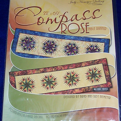 """Compass Rose Judy Niemeyer Pattern Tablerunner 22""""X69"""""""