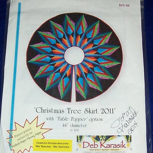 """ChristmasTree Skirt Deb Karasik Signed Pattern 44"""" Diameter Table Topper option"""