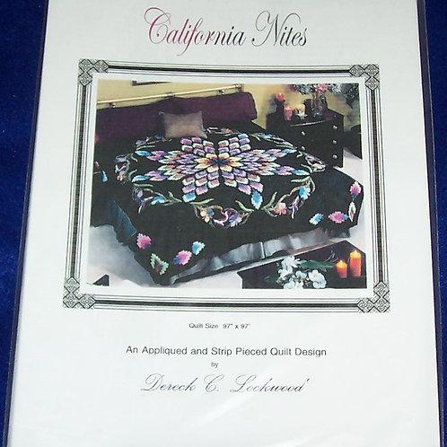 "California Nites Dereck Lockwood Pattern 97""X97"" Applique & Striped Pieced"