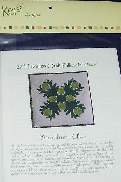 """Breadfruit 21"""" Hawaiian Quilt Pillow Pattern Keri Designs"""