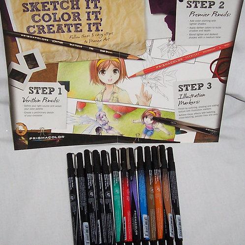 PrismaColor Premier Fine Line Markers  8 Assorted Colors + 5 Black Assorted Tips