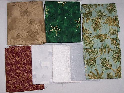 Christmas Theme 8 Fat Quarter + 1/3Yd Green 1/2Yd Brown