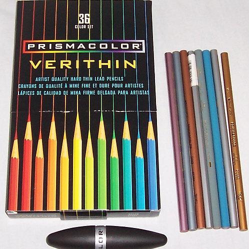 PrismaColor Verithin 36 Color Set Plus Sharpener and 8 Pencils Assorted Colors