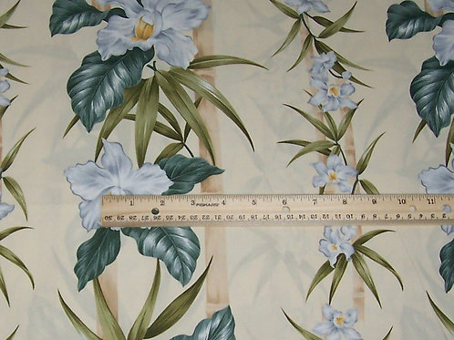 Trendtex Hawaiian Floral Light Yellow Gray Green Z002 Fabric BTY