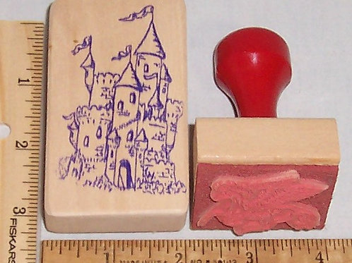 Wood Mounted Rubber Stamp Castle and Pegasus
