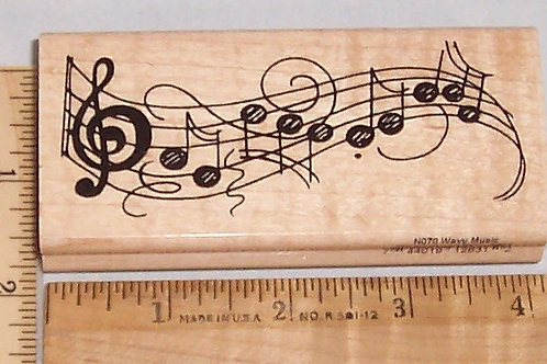 Wood Mounted Rubber Stamp Stampendous Wavy Music N070 Musical Notes