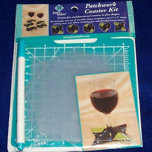 """June Tailor Patchwork Coaster Kit Reusable Templates 5"""" Sq Cutting Mat Mark Pen"""