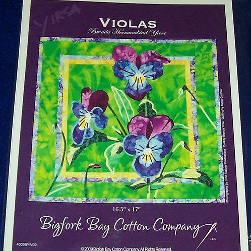 """Violas Brenda Yirsa Pattern 16.5""""X17"""" Bigfork Bay Cotton Company"""