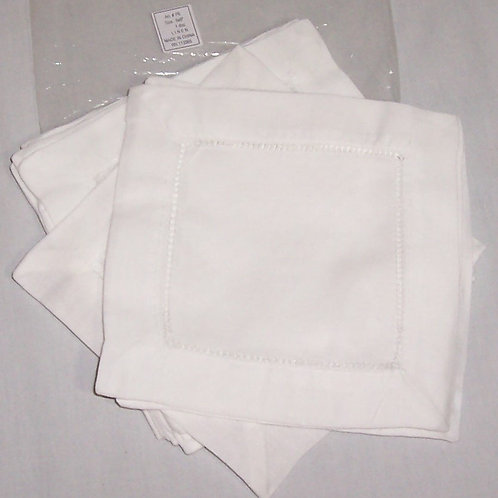 "White Linen Hemstitched Cocktail Napkins-1 Dozen 6"" X 6""- Ladder Hem Sti"