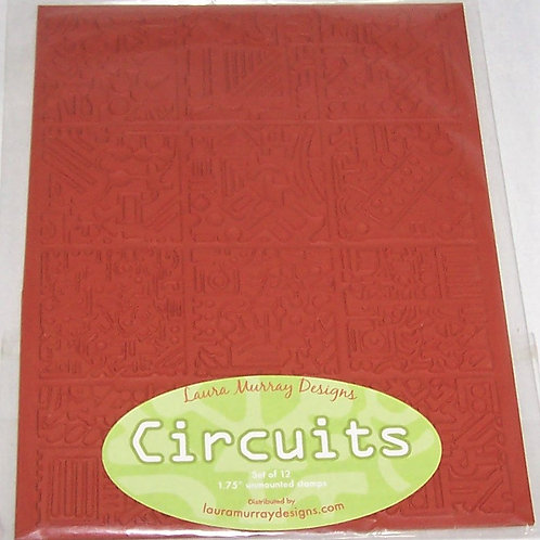 """Laura Murray Designs Circuits Set of 12 - 1.75"""" Unmounted Rubber Stamps"""