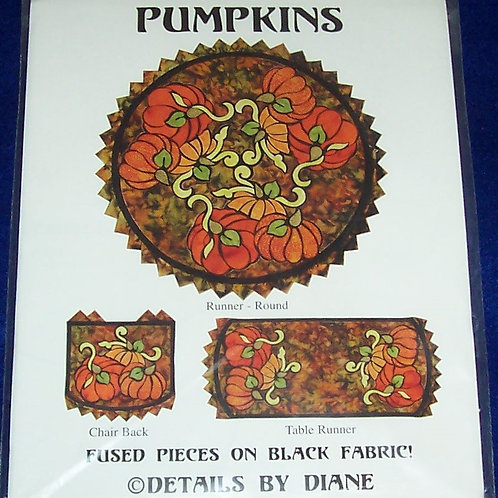 Pumpkins Details by Diane Pattern Table Runner Round and Long + Chair Backs