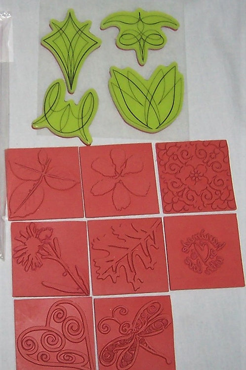 8 Unmounted Rubber Stamps + 4 Cling Stamps Various Flowers Leaves
