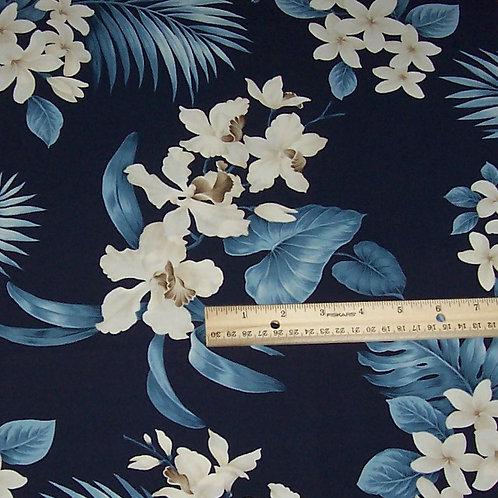 Trendtex Hawaiian Floral Plumeria Blue H8225 Fabric 1-1/8 Yards