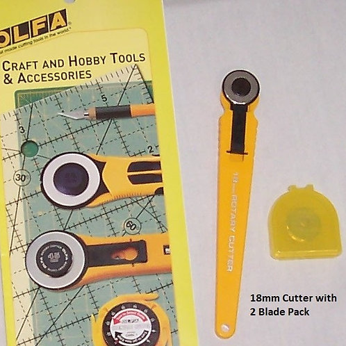Olfa Rotary Cutter With 2 Blades Pack - 18mm