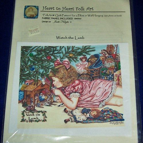 """Watch the Lamb Pillow or Wall Hanging Quilt Pattern 20"""" Sq Fabric Panel Included"""