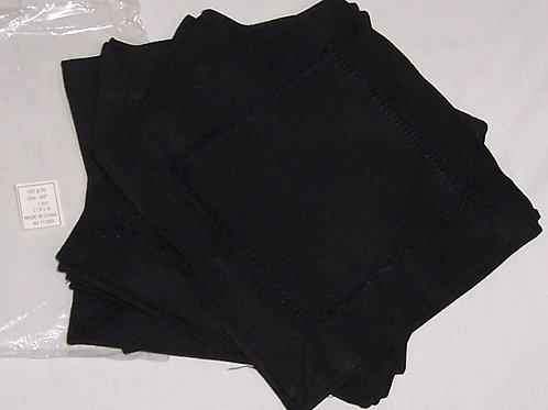 "Black Linen Hemstitched Cocktail Napkins-1 Doz 6"" X 6""- Ladder Hem Stitch Cloth"