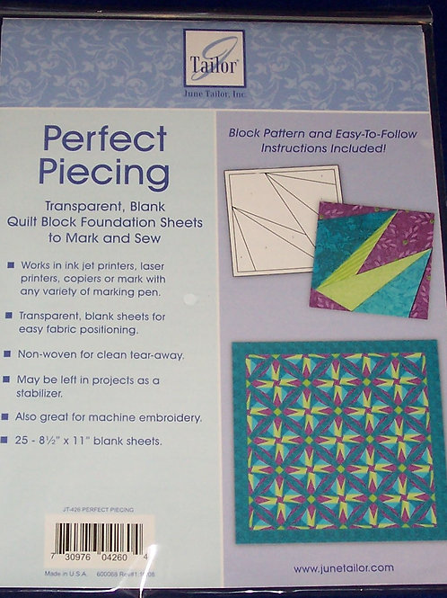"June Tailor Perfect Piecing Foundation 25 Sheets 8.5""X11"""