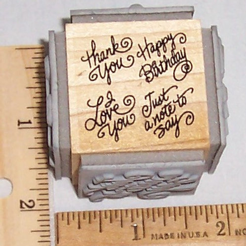 Wood Mounted Rubber Stamp Stampendous Personal Notes Mini Quad Cube Birthday Lov