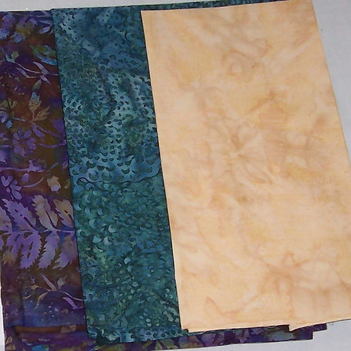 Batik Total 2-3/4+ Yards - 3 Pieces Plus a Free Pattern Fabric