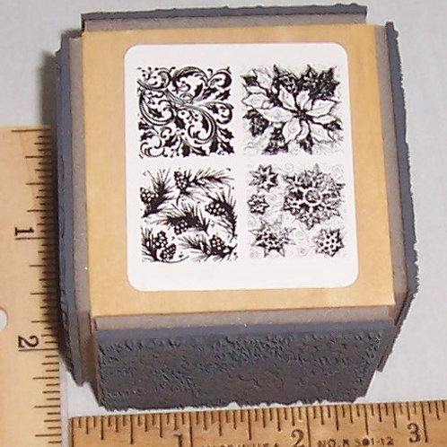 Wood Mounted Rubber Stamp Stampendous Holiday Quad Cube Poinsettias Pine Cones..